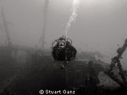 Wreck diver on the &quot;Mahi&quot; by Stuart Ganz 